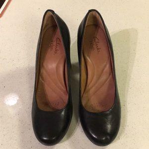 Clarks black leather heels, size 8